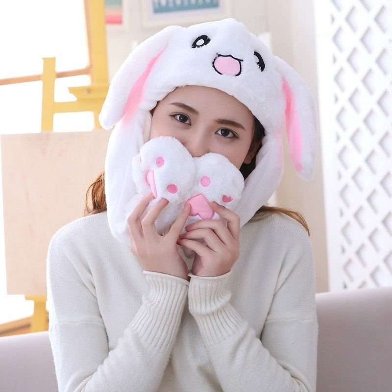 Cute Rabbit Ear Cap Kids Girls Hat Plush Toy Bunny Hat Fashion Girls gifts