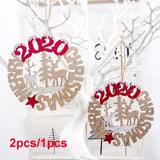 1Pcs/2Pcs 2020 Merry Christmas Hanging Decor Hollow Elk Letter Wooden Card Xmas Tree Pendant Wood Crafts Ornaments