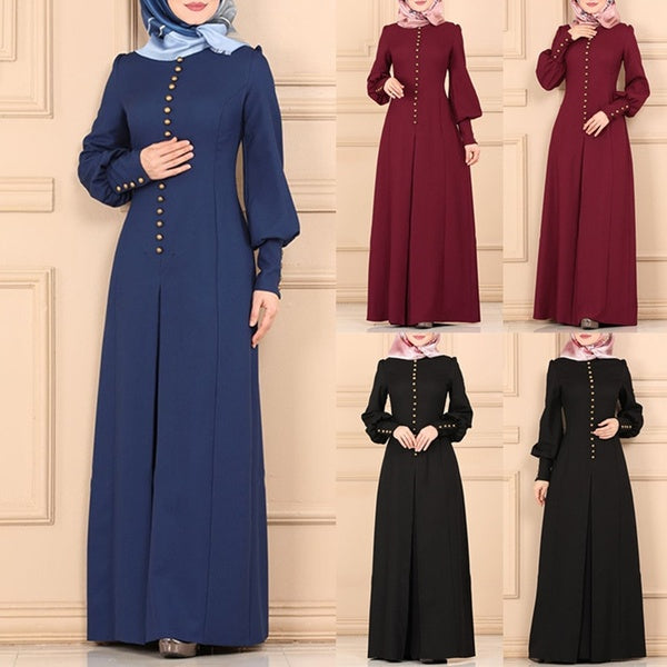 Vogue Brief Style Solid Mohammedanism Islam Dubai Abaya Muslim Dress Long Sleeve Floor Length Muslim Kaftan Islamic Dresses Without Hijab S~5XL