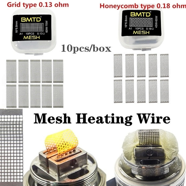 Accessories 10pcs/box DIY Mesh Coils Prebuilt Coil Kanthal A1 Premade Mesh Coil 0.13ohm 0.18ohm for Manta RTA TANK RDA RDTA Heating Wire