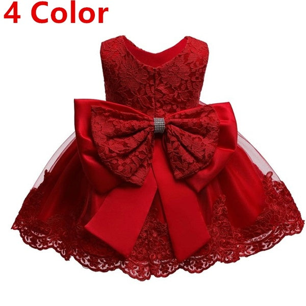 Infant Toddler Big Bow-Knot Dress Little Girls Princess Sleeveless Embroidery Lace Tulle Tutu Dress For Christmas Wedding Birthday Party Baptism