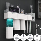 New Toothbrush Holder Magnetic Attraction Multi-Functional Wall-Mounted Toothbrush and Toothpaste Storage Set with Dustproof Cover Toothbrush Slots Rinse Mouth Cups- No Drill or Nail Needed (White Holder)