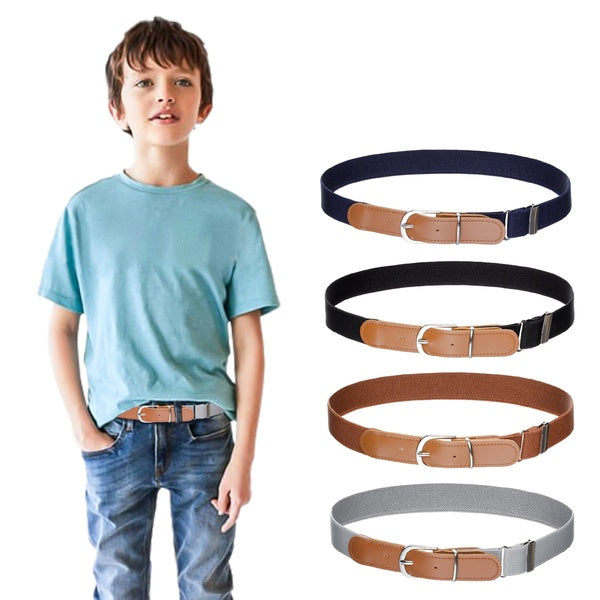 Kids Boys Girls Elastic Belt - Stretch Adjustable Belt for Boys and Girls with Leather Loop Belt