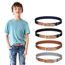 Load image into Gallery viewer, Kids Boys Girls Elastic Belt - Stretch Adjustable Belt for Boys and Girls with Leather Loop Belt