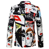 New Mens Fashion Print Casual Suits Jacket Plus Size Hip Hot Male Slim Fit Suit Jacket Men Singer Blazer M-3XL