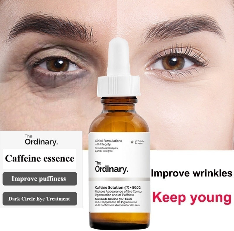 Eye Cream Eye Essence The Ordinary Caffeine Solution 5% + EGCG (30ml): Reduces Wrinkles and Puffiness Anti Wrinkle Improve Dark Circles