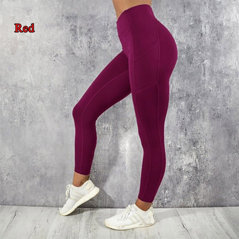 New Fashion Yoga Pants Women's Running Sports Pants Side Mobile Phone Pockets Sports Yoga Pants size XS-XL