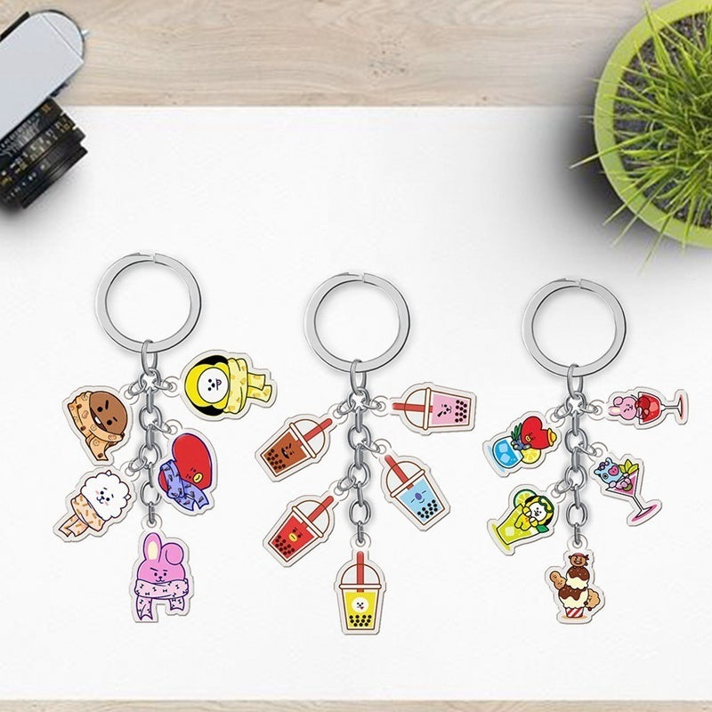 1Pc Kpop Bts Bangtan Boys Bt21 Acrylic Key Ring Tata Chimmy Cooky Keychain Keyring Pendant