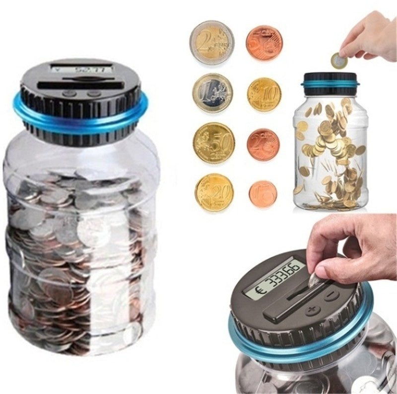 Large Electronic Digital LCD Screen Coin Counting Save Money Automated Coin Bank Piggy Bank Coin Jar Electronic Coin Counter Jar Coin Collection Saving Box