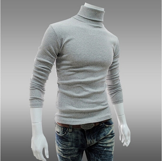 New Style Mens High Neck Sweater Long Sleeve Knitted T Shirt Basic Plain Turtleneck T Shirts Autumn Winter Keep Warm Solid Color