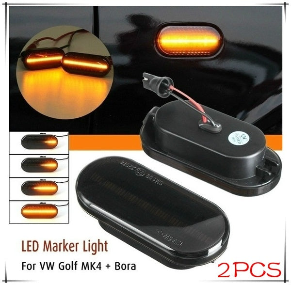 2PCS Dynamic Flowing Repeaters Indicator LED Side Marker Light(Black)