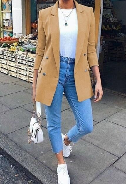 Women Long Sleeve Jacket Suit Solid Color Blazers Clothes Plus Size