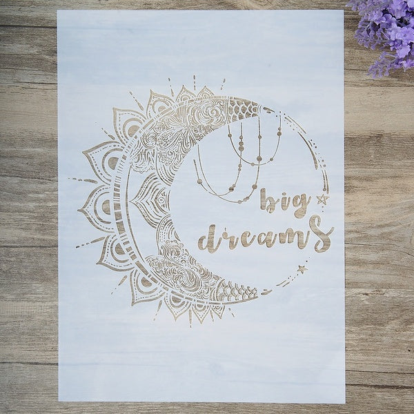 A4 A3 A2 Size DIY Craft Dream Big Moon Stencil For Wall Painting Scrapbooking Stamping Album Decorative Embossing Paper Card