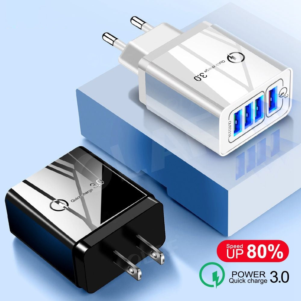 Quick Charge QC 3.0 USB Charger For iPhone X XR XS Samsung S9 S10 Fast Charging 4 Ports USB Wall Phone Charger EU US Adapter