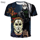 2019 Men Women T Shirt Freddy Krueger Jason and Michael Myers Halloween Gothic 3D Clothes Funny Mens Short-sleeve Shirt