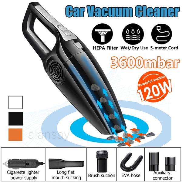 Powerful 120W 12V Car Vacuum Cleaner 3600mbar Wet Dry Dual Use Handheld Portable Vacuum Cleaner