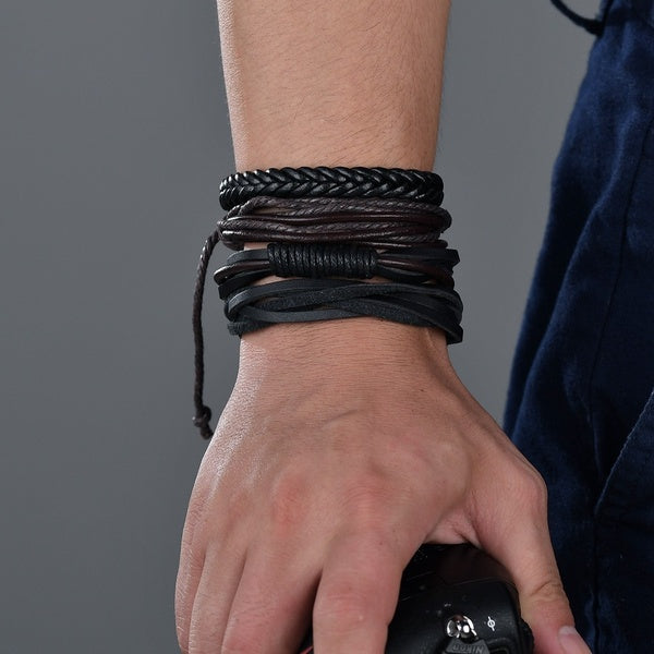 Manual bracelet, cowhide bracelet, fashionable men's multi-layer bracelet Jewelry