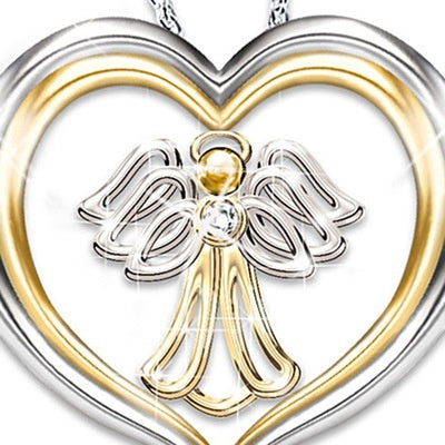 Exquisite Fashion Creative 925 Silver Love Angel Diamond Pendant Necklace earrings Party Gift Fashion Accessories Gift for Mother Daughter Sister Grandmother Friends Best Jewelry