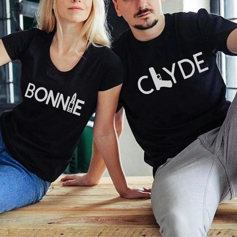 Summer Fashion CLYDE BONNIE Letter Printed Casual Punk Cool Couple T-Shirt
