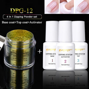 YAYOGE 4Pcs/Set Dipping System Nail Kit Nail Art Dipping Powder With Base Top Activator Liquid Natural Dry Without Lamp