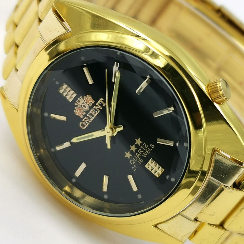 Men Luxury Automatic Quatz Watches Classic  Gold Strap Wrist Watch with Gift Box