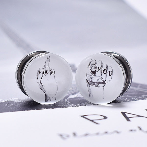 1pair Creative Design Stainless Steel Ear Gauges Tunnel and Plug Ear Stretcher Ear Piercing Earring Body Jewelry 6-25mm