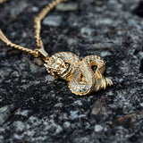 24K Gold Luxury AAA Cubic Zirconia CZ Dragon Pendant Necklaces for Men Women Iced Out Tennis Bling Gold Chain Motorcycle Party Steampunk Hip Hop Chain Jewelry Gifts