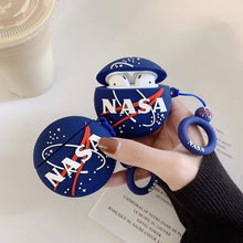 Load image into Gallery viewer, Funy NASA Soft Silicone Shockproof Case With Anti-lost Hook For Apple Airpods Wireless Earphone