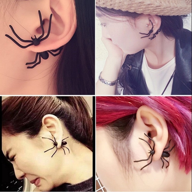 Earring Black Spider Ear Stud Funny Style Weird Design Earring Decoration Jewelry Accessories for Party