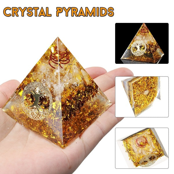 Orgonite Pyramid Energy Chakra Multiplier Reiki Orgone Energy Clear Quartz Citrine And COPPER healing Increasing vitality Elimination of harmful radiation