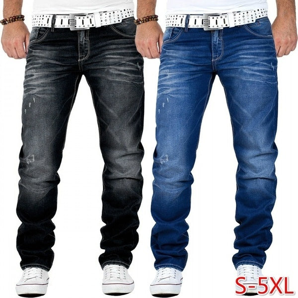 Mens Clothing Fashion Designer Skinny Jeans Casual Solid Color Street Style Denim Jeans Slim Fit  Pencil Pants for Male Trousers