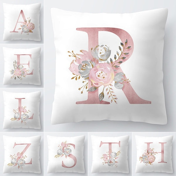 45x45cm Alphabet Floral Print Pillow Case Waist Cushion Cover Wedding Bed Decor Pink Color