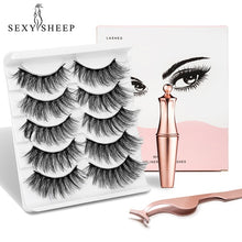 Load image into Gallery viewer, 5pairs Magnetic Eyeliner With Magnetic Eyelashes Magnetic Lashliner For Use With Magnetic False Lashes Eyeliner+Eyelashes+Tweezers Makeup Tool Set