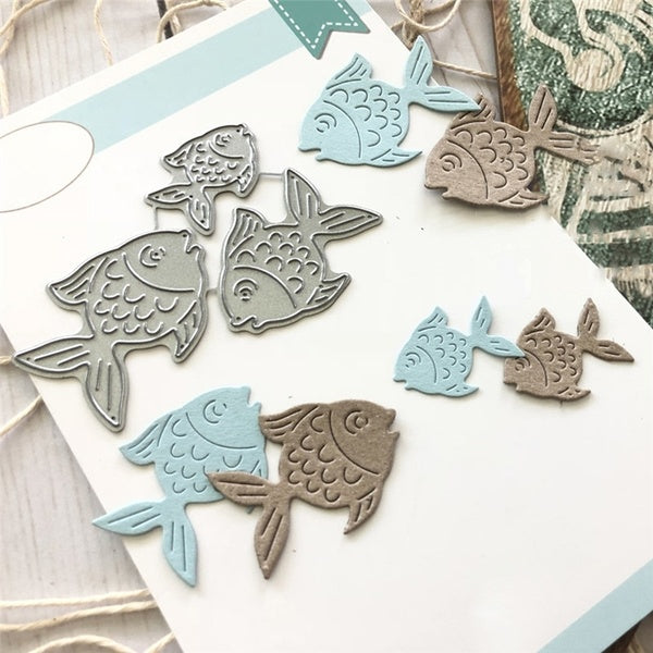 Cute Small Fish Element Metal Cutting Dies Scrapbooking for Card Making DIY Embossing Cuts New Craft Die