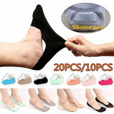 20PCS/10PCS Set Casual Ankle Invisible No Show Nonslip Loafer Boat Liner Low Cut Ultrathin Cotton Comfortable Socks Show Socks Wholesales(Application Size: 33-43)