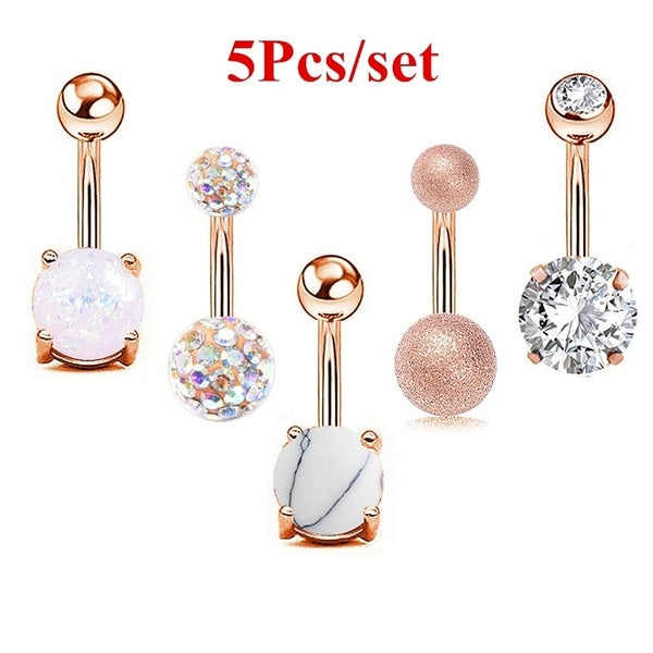 5Pcs/set Women Navel Button Rings Rose Gold Silver Medical Steel Rhinestone Belly Navel Piercing Ring Body Jewelry