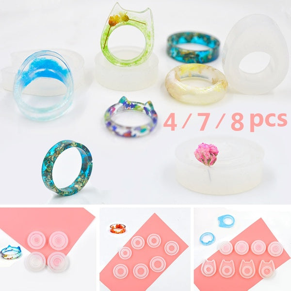 4/7/8PCS Ring Jewelry Making Mold Silicone Mould Epoxy Resin Mold for Jewelry DIY Resin Decorative Craft