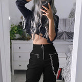 Gothic harajuku zipper streetwear women casual harem pants with chain solid black pant cool fashion hip hop long trousers capris