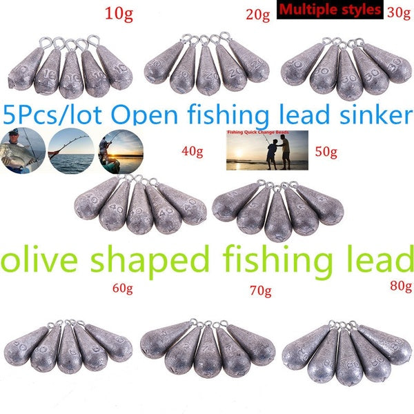 5Pcs/lot Open lead sinker olive shaped accessories for lure sea fishing