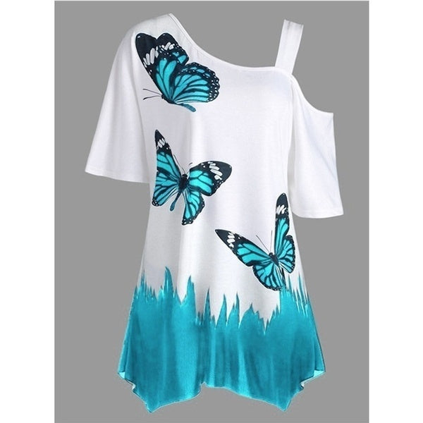 New Fashion Women Short Sleeve Tunic T-shirt Butterfly Print One Shoulder Loose Blouse Tops Plus SizeV