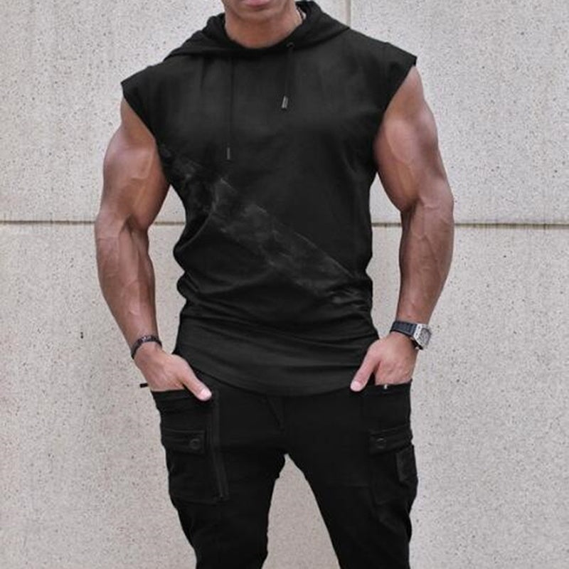 Mens Muscle Hoodies Fitness Bodybuilding Sleeveless Gym Tank Top Vest