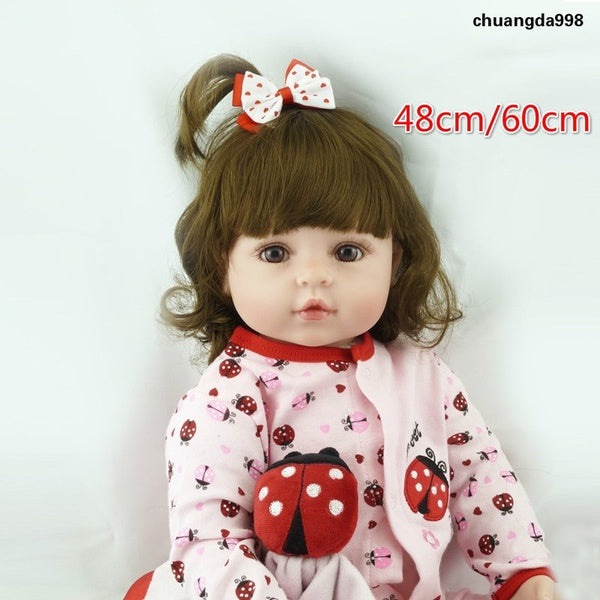 48cm/60cm New Lovely Realistic Baby Doll Soft Silicone Vinyl Cloth Body Lifelike Toddler Girl Toy