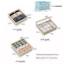 Load image into Gallery viewer, washable underwear storage box foldable 7 16 24 grids bras socks drawer organizer Multi-function home storage organizer
