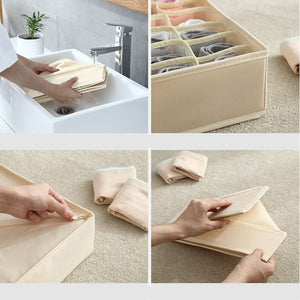 washable underwear storage box foldable 7 16 24 grids bras socks drawer organizer Multi-function home storage organizer