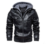 New Men Vintage Cool Motorcycle Jacket Leather Mens Outdoor Casual PU Leather Jacket Coat Long Sleeve Autumn Winter Coat Stand Collar Club Bomber Jacket