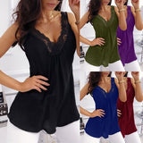 Women Fashion Deep V Neck Tops Casual Solid Color Sleeveless Shirt Women Spaghetti Strap Tank Top Ladies Beach Wear Dress Shirt Plus Size