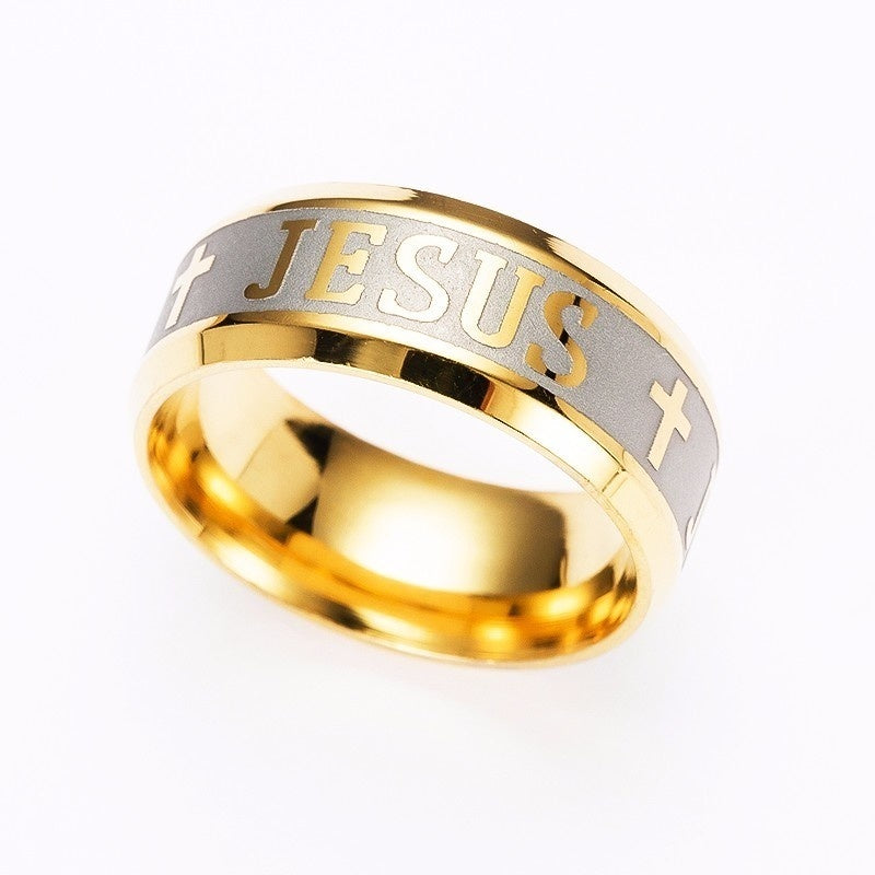 2019 high quality 316 silver plated gold titanium steel letter cross jesus bible ring wedding band women's rings men