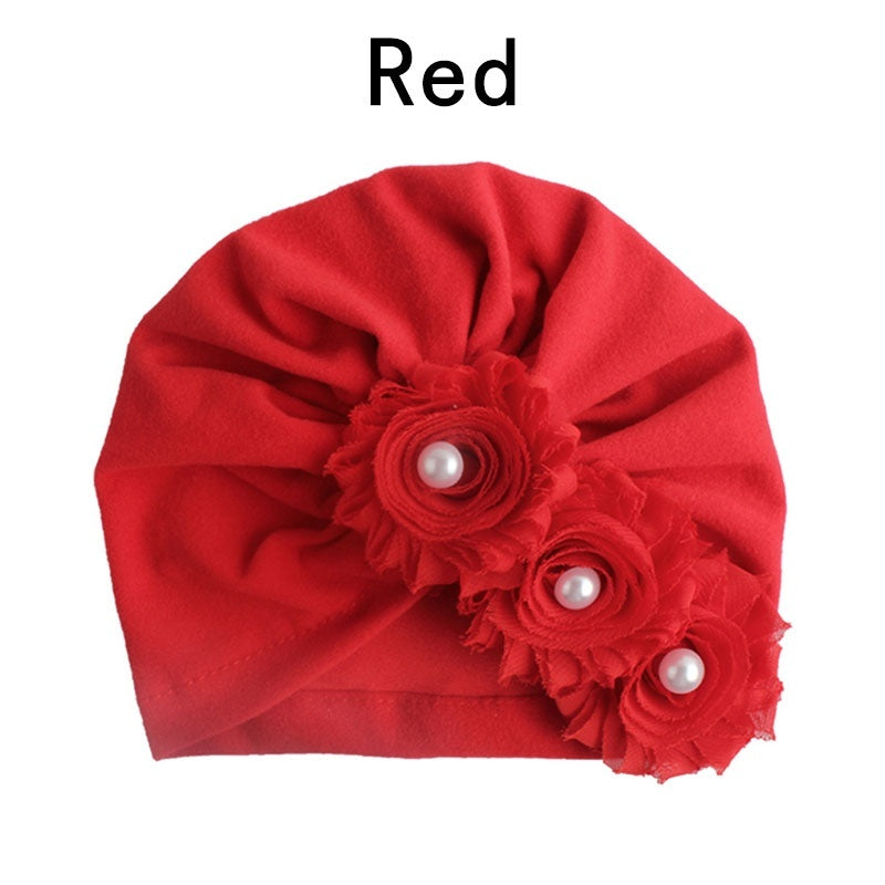 1PC Kid Toddler Girls Head Scarf Pearl Sun Hat Sunflower Cap With Drill Solid Color Indian Hat Cute Elastic