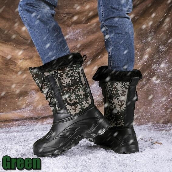 Winter Men's Shoes Outdoor Sport Waterproof Boots Hiking Fishing Snow Boots Warm Boots Plus Size 39-46