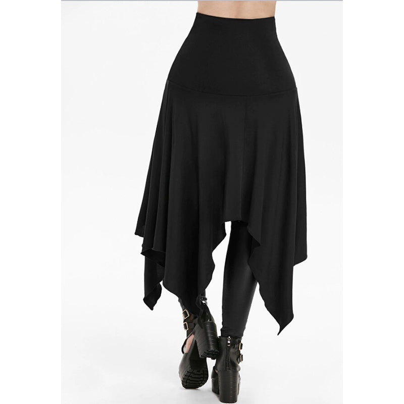 Women Gothic Punk Lace Up Irregular Cut Skirt Vintage Cosplay Costume Dress